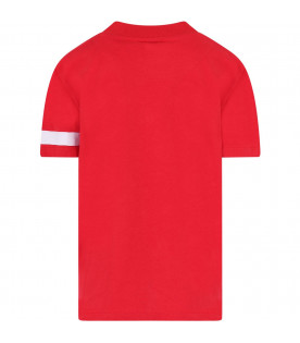 GCDS KIDS Red kids T-shirt with white logo