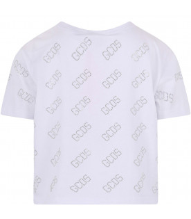 GCDS KIDS White girl T-shirt with all-over logo