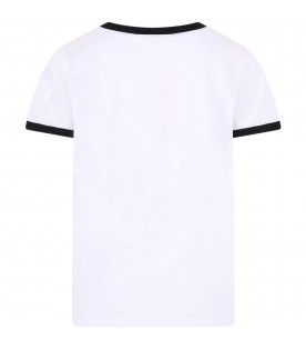 GCDS KIDS White kids T-shirt with black writing and logo