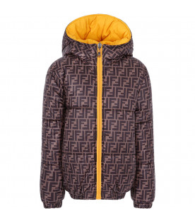FENDI KIDS Boy reversible quilted jacket in brown with FF and yellow