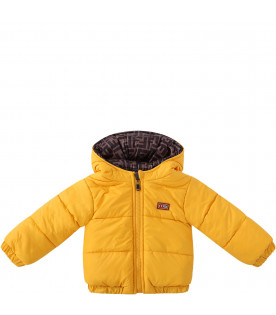 FENDI KIDS Baby boy reversible quilted jacket in brown with FF and yellow
