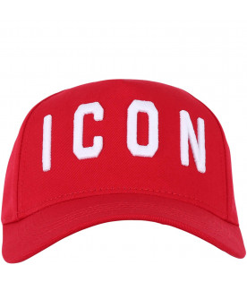 DSQUARED2 Red kids hat with white logo