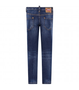 "DSQUARED2 Jeans ""Cool Girl"" blu denim per bambina con logo bianco"