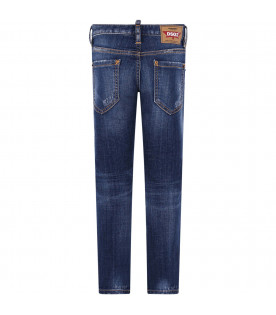 """DSQUARED2 Denim blue """"Cool Guy"""" boy jeans with white logo"""