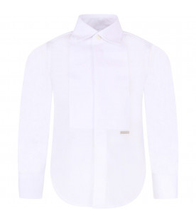 DSQUARED2 White boy shirt with metallic logo
