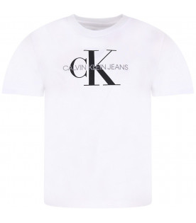 CALVIN KLEIN KIDS White kids T-shirt with black and grey logo