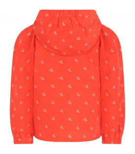 CALVIN KLEIN KIDS Orange girl  windbreaker with white all-over logo