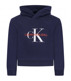 CALVIN KLEIN KIDS Blue girl sweatshirt with silver and red logo