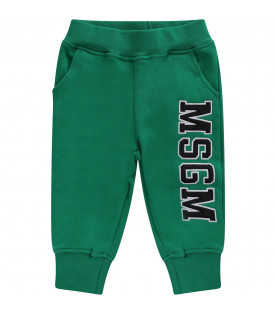 MSGM KIDS Green babyboy sweatpant with black logo