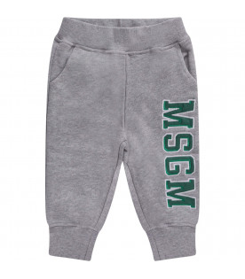 MSGM KIDS Grey babyboy sweatpant with green logo