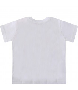 MSGM KIDS White babygirl T-shirt with colorful logos
