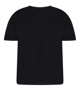 MSGM KIDS Black girl T-shirt with black logo and rhinestones
