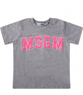 MSGM KIDS Grey babygirl T-shirt with neon pink logo