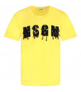 MSGM KIDS Yellow girl T-shirt with black logo and rhinestones
