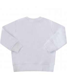 MSGM KIDS White babykids sweatshirt with black logo
