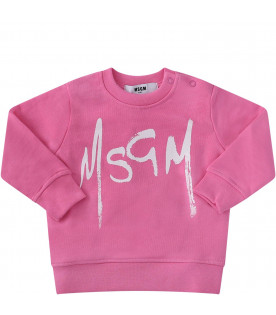 MSGM KIDS Pink babygirl sweatshirt with white logo