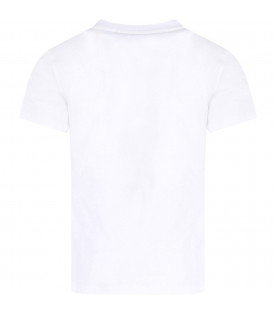 MSGM KIDS White girl T-shirt with black logo