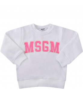 MSGM KIDS White babygirl sweatshirt with neon pink logo