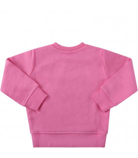MSGM KIDS Pink babygirl sweatshirt with colorful logos