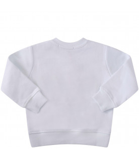 MSGM KIDS White babygirl sweatshirt with colorful logos