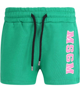 MSGM KIDS Green girl short with neon pink logo