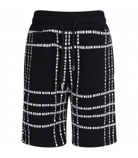 MSGM KIDS Black kids short with white all-over logo