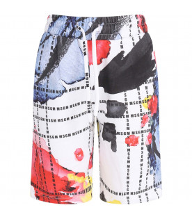 MSGM KIDS White boy short with colorful all-over spots