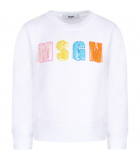 MSGM KIDS White girl sweatshirt with colorful logo