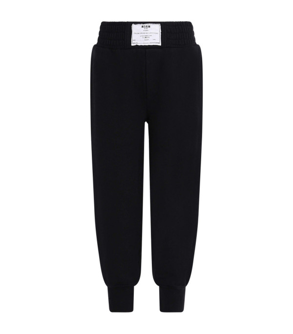MSGM KIDS Black babyboy sweatpant with white patch