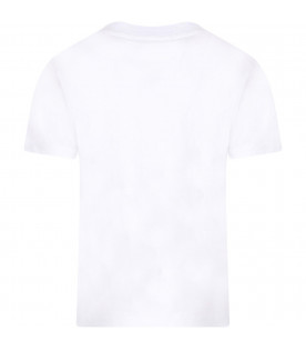 MSGM KIDS White girl T-shirt with colorful logos