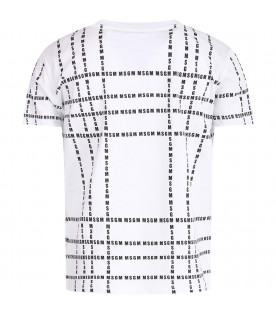 MSGM KIDS White kids T-shirt with black all-over logo