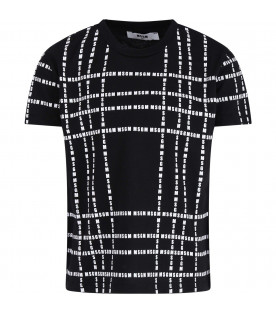 MSGM KIDS Black kids T-shirt with white all-over logo