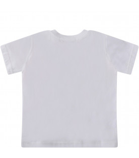 MSGM KIDS White babygirl T-shirt with neon pink logo