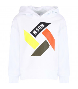 MSGM KIDS White kids sweatshirt with colorful print and logo