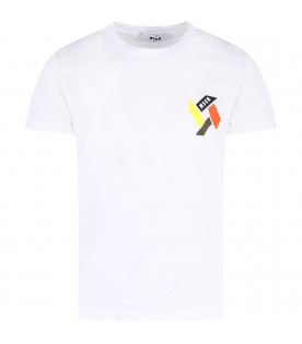 MSGM KIDS White kids T-shirt with colorful print and logo