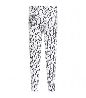 MSGM KIDS Black girl leggings with white all-over logo