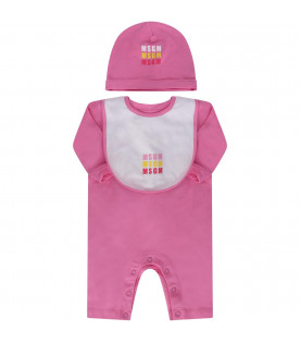 MSGM KIDS Pink babygirl set with colorful logos