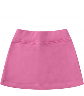 MSGM KIDS Pink babygirl skirt with white logo