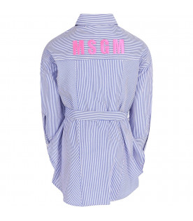 MSGM KIDS Light blue and white girl dress with neon pink logo