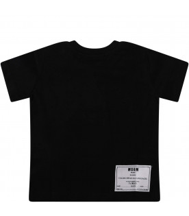 MSGM KIDS Black babykids T-shirt with white logo