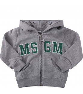 MSGM KIDS Grey babyboy sweatshirt with green logo