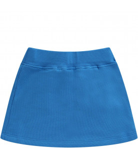 MSGM KIDS Light blue babygirl skirt with white logo