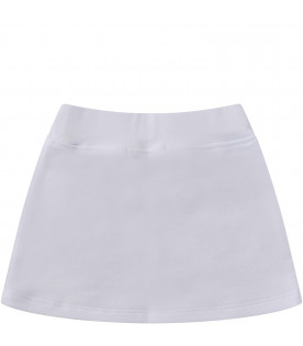 MSGM KIDS White babygirl skirt with black logo