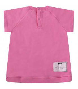 MSGM KIDS Pink babygirl dress with white logo