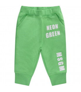 MSGM KIDS Neon green babykids sweatpant with white logo
