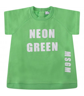 MSGM KIDS Neon green babygirl dress with white logo