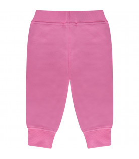 MSGM KIDS Pink babygirl sweatpant with neon pink logo