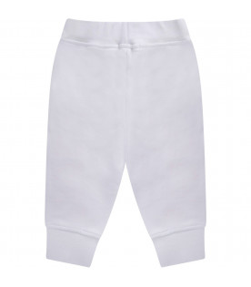 MSGM KIDS White babygirl sweatpant with neon pink logo