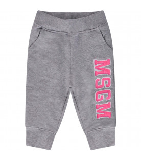 MSGM KIDS Grey babygirl sweatpant with neon pink logo