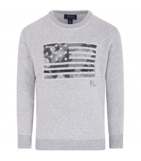 RALPH LAUREN KIDS Grey kids sweater with iconic flag